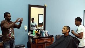 Film Still - Louis at the barbershop