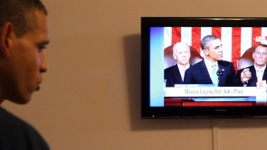 Film Still - Louis watches Obama's American Jobs Act speech.